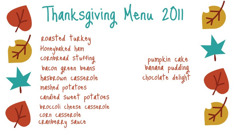 Traditional Southern Thanksgiving Dinner Menu  Ten June Our Thanksgiving Menu