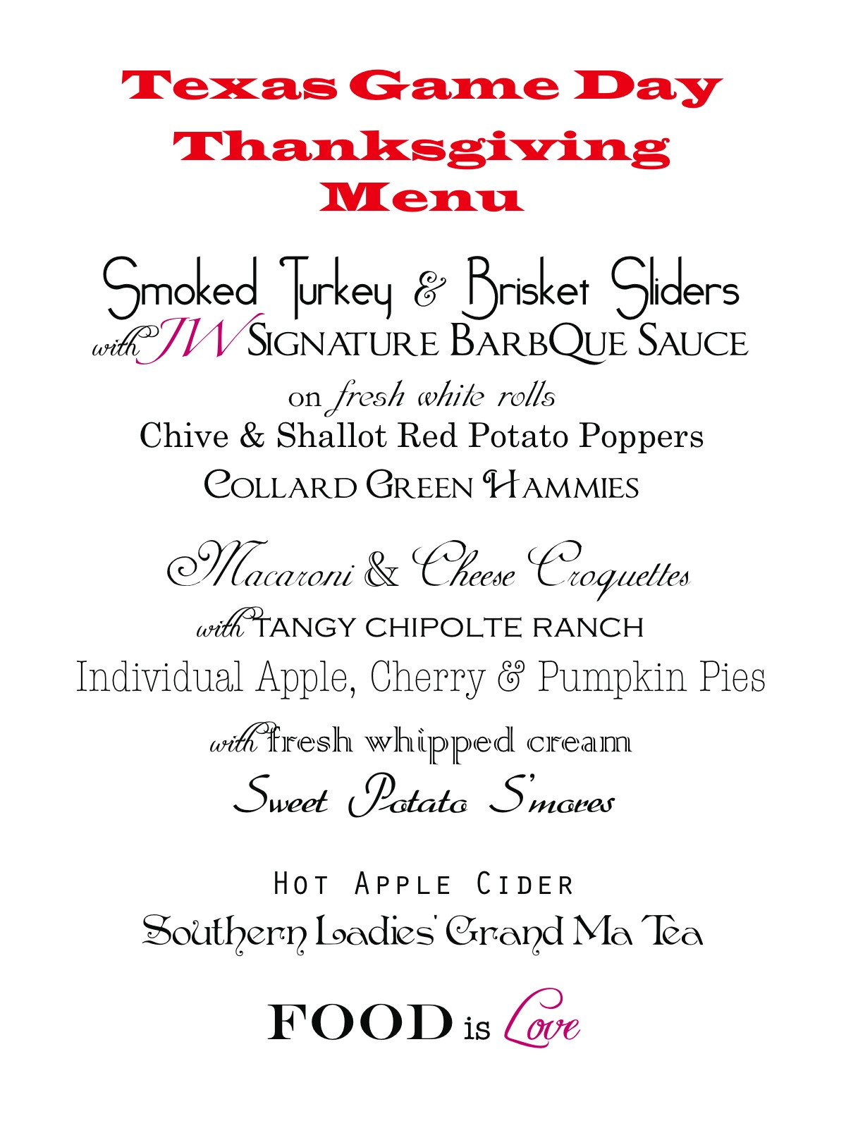 Traditional Southern Thanksgiving Dinner Menu  JW Food and Design