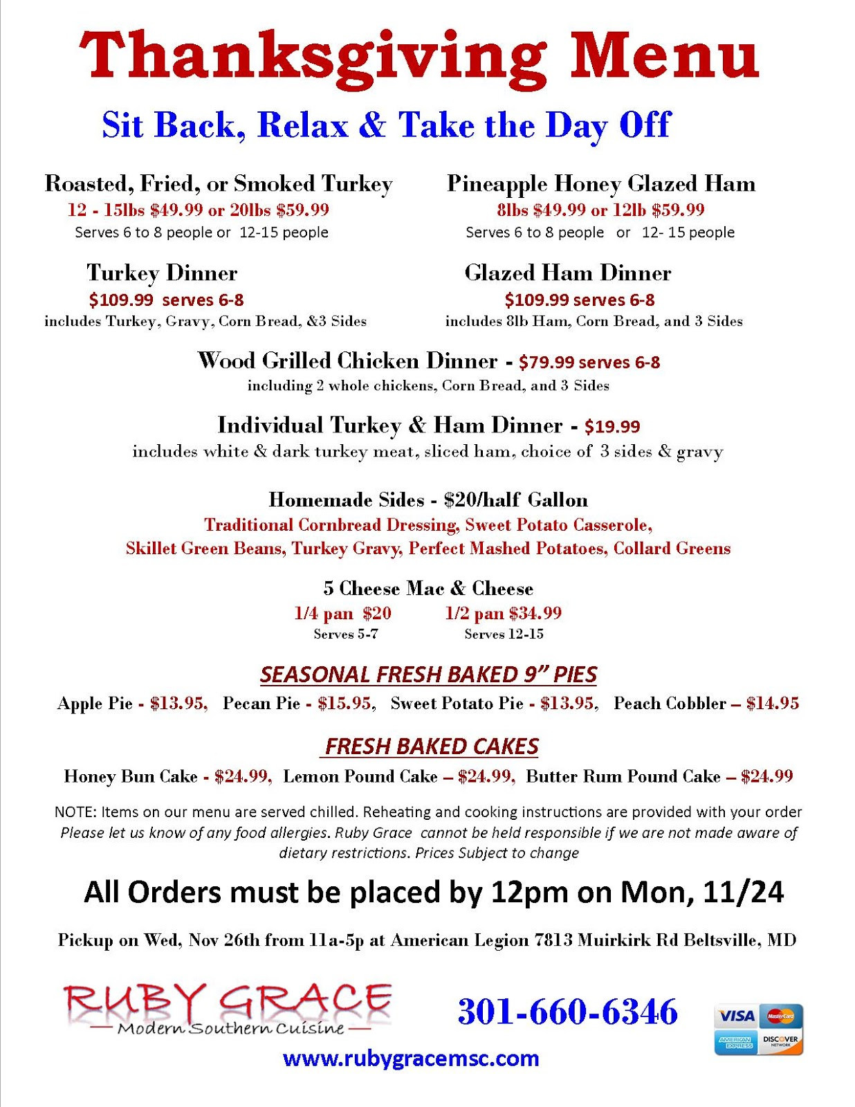 Traditional Southern Thanksgiving Dinner Menu  South Laurel Views Nov 27 Ruby Grace Southern