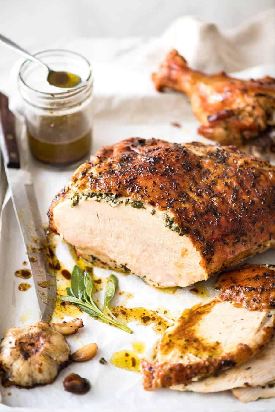Turkey Breast Recipe For Thanksgiving  Garlic Herb Butter Roasted Turkey Breast