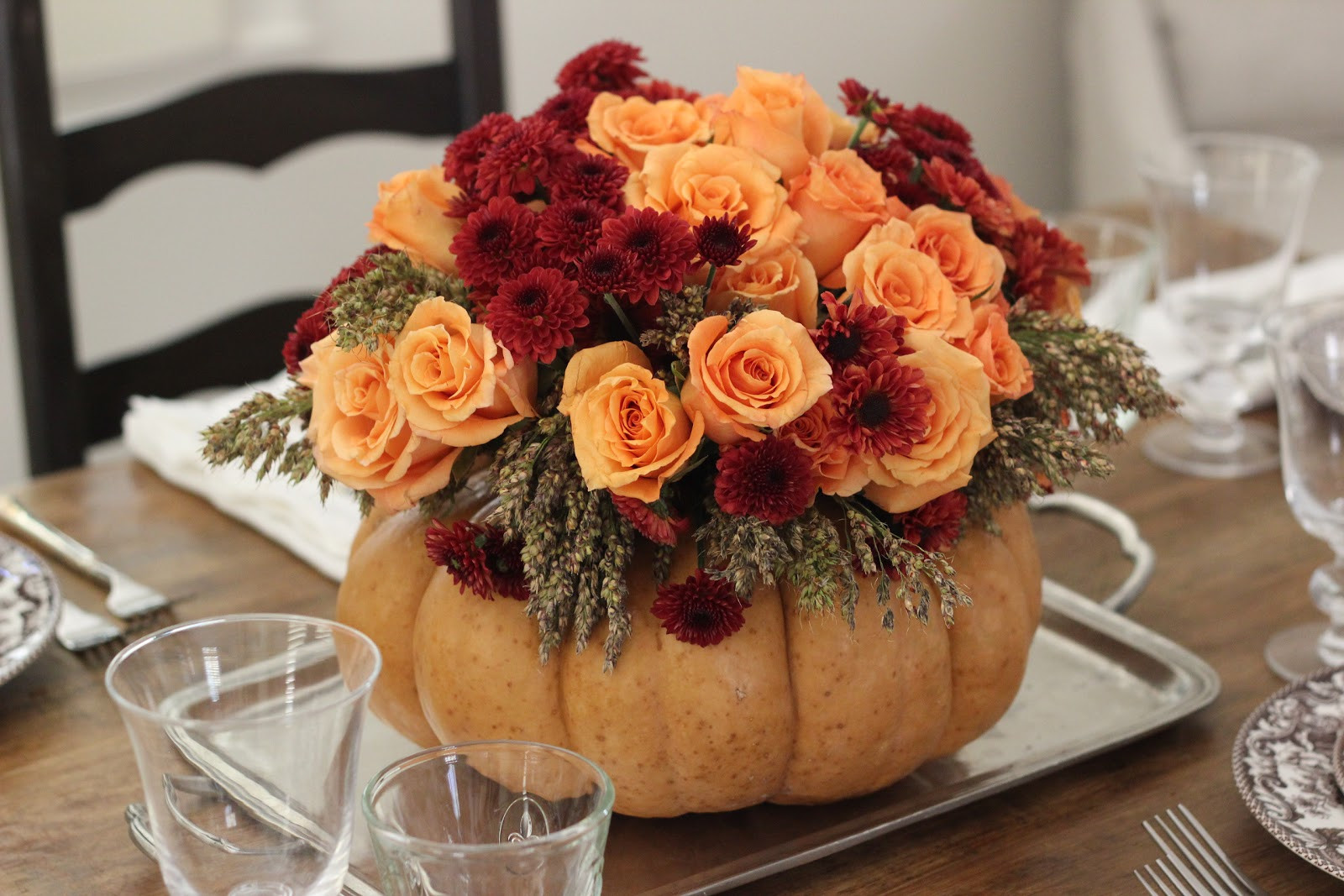 Turkey Centerpieces Thanksgiving  Jenny Steffens Hobick DIY Thanksgiving Centerpiece