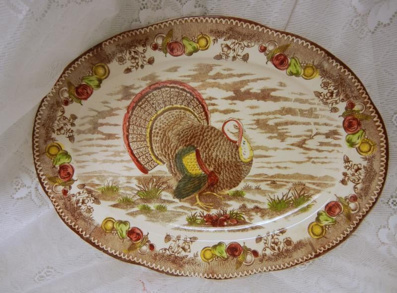 Turkey Platters Thanksgiving  Vintage Thanksgiving Turkey Platter Betson s Japan