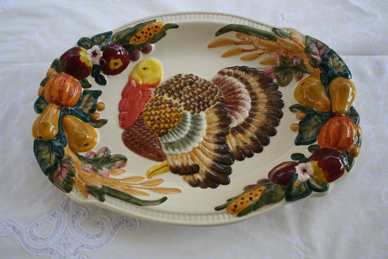 Turkey Platters Thanksgiving  Vintage Turkey Platter Club Beau Rivage Rare Raised Fruit