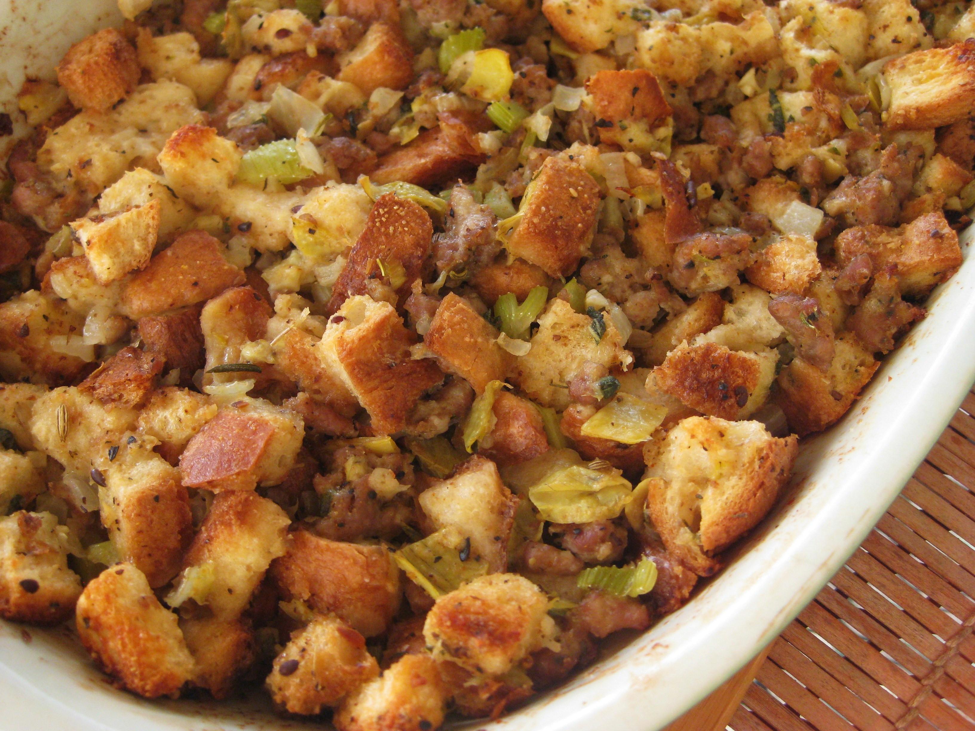 Turkey Sausage Stuffing Recipes Thanksgiving  Artichoke and Vegan Sausage Stuffing