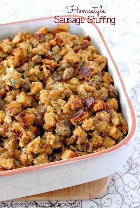 Turkey Sausage Stuffing Recipes Thanksgiving  Homestyle Sausage Stuffing