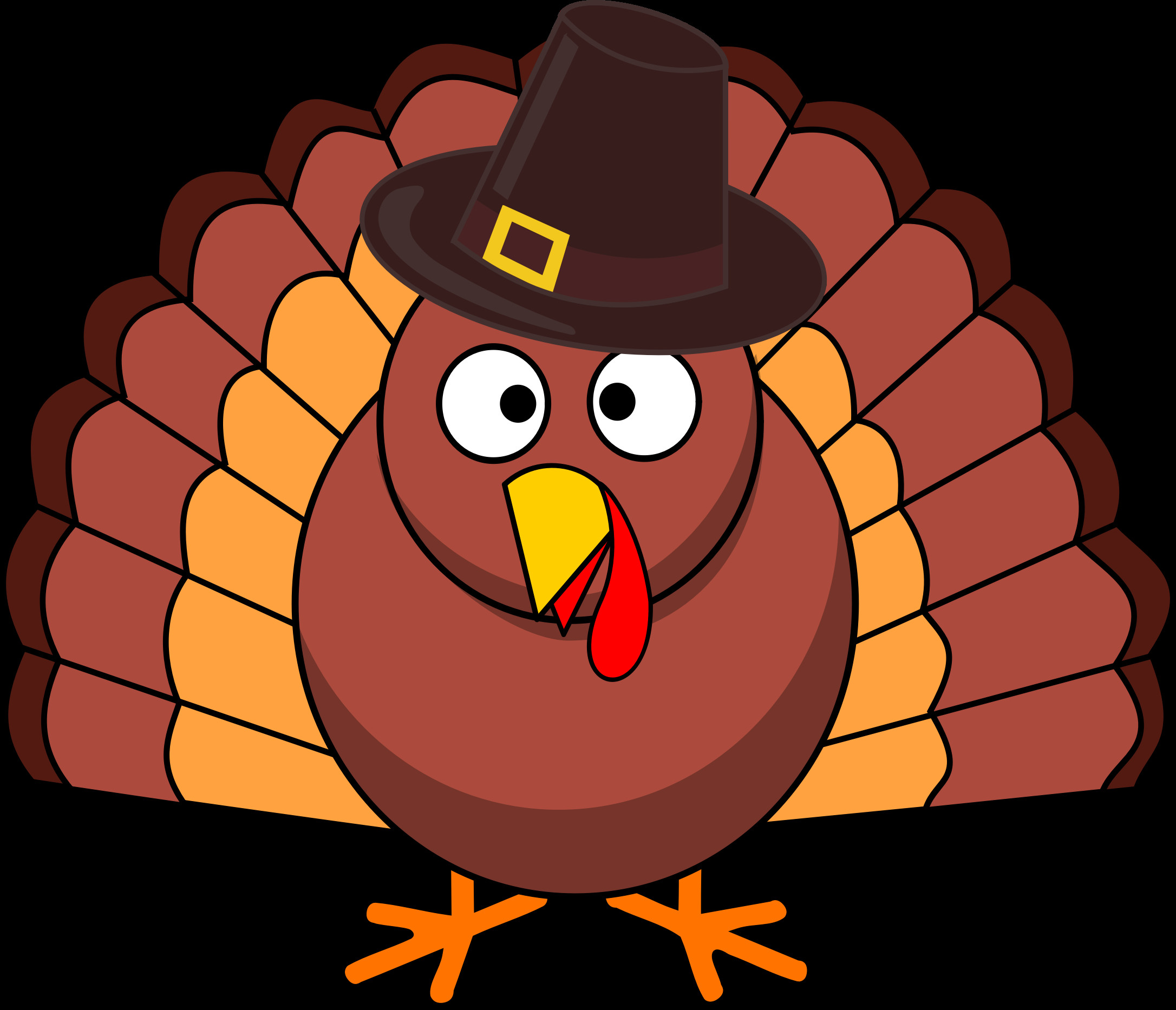 Turkey Thanksgiving Clipart  Turkey with Pilgrim Hat vector file image Free stock