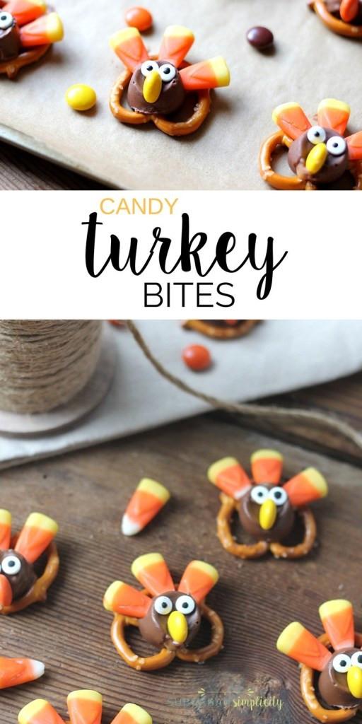 Turkey Treats For Thanksgiving  Adorable Candy Pretzel Turkey Bites