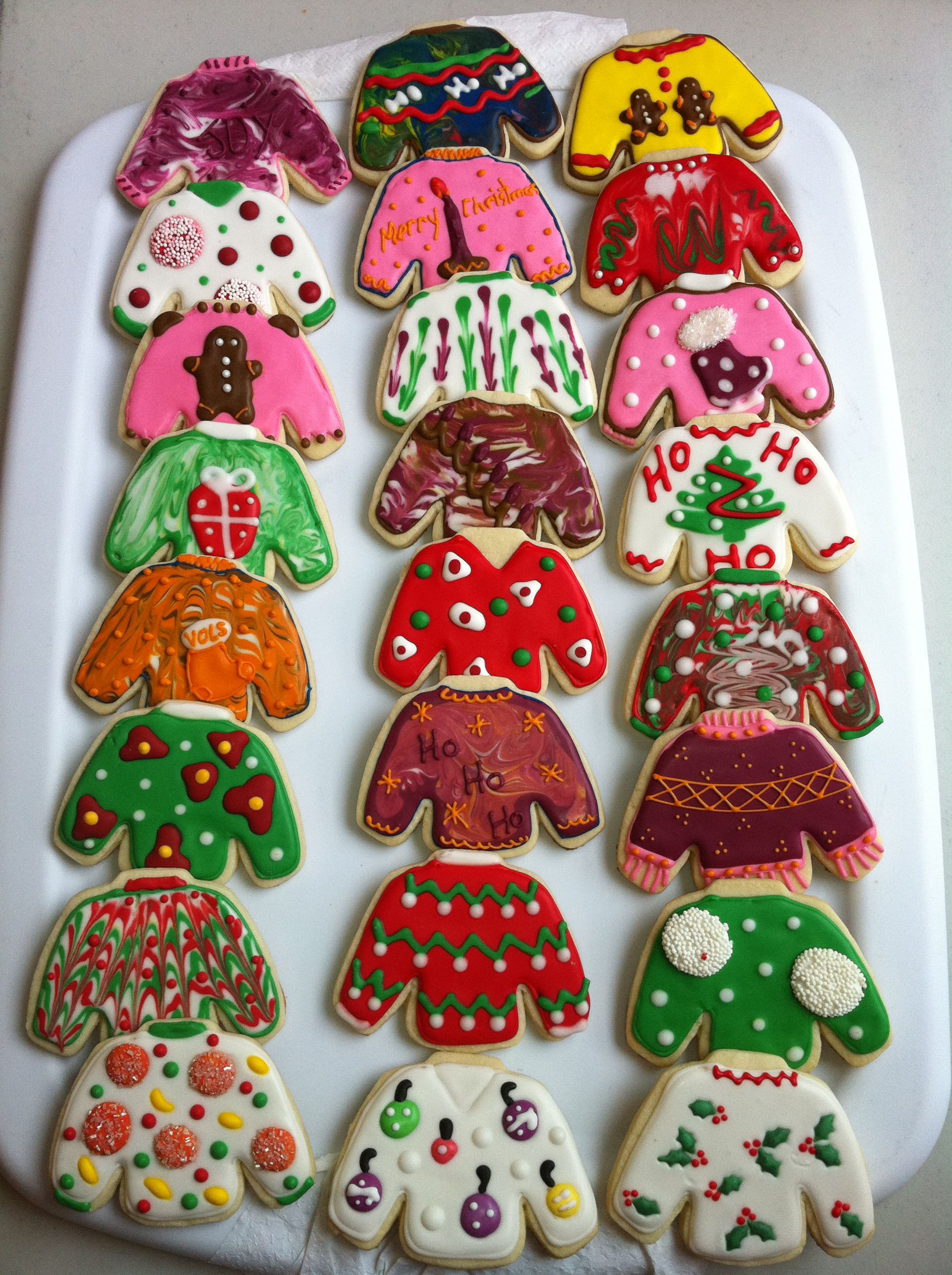 Ugly Christmas Cookies  Tacky Christmas Sweaters Decorated Sugar Cookies by I Am