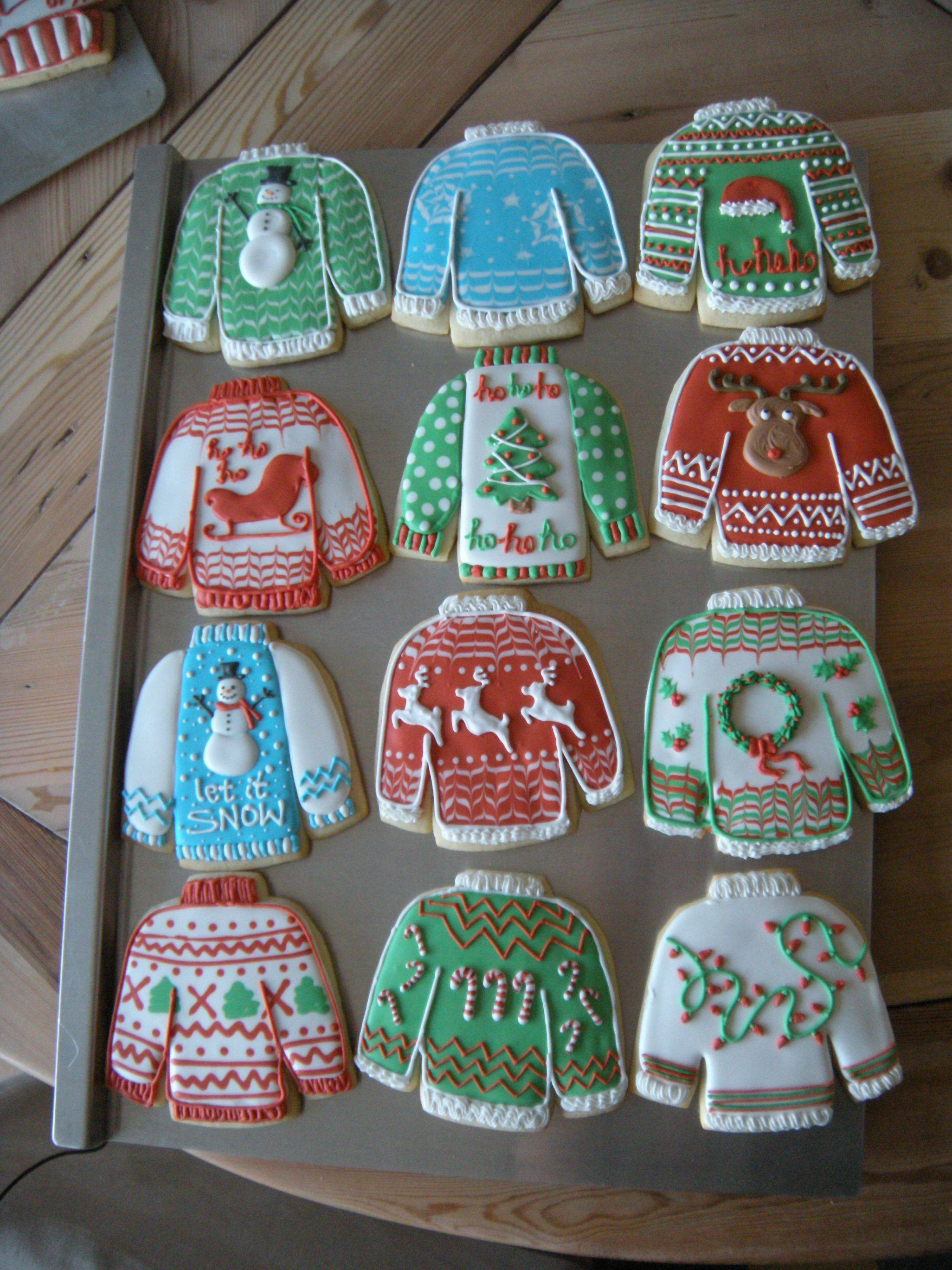 """Ugly Christmas Cookies  I decided to try some """"ugly Christmas sweater"""" cookies"""