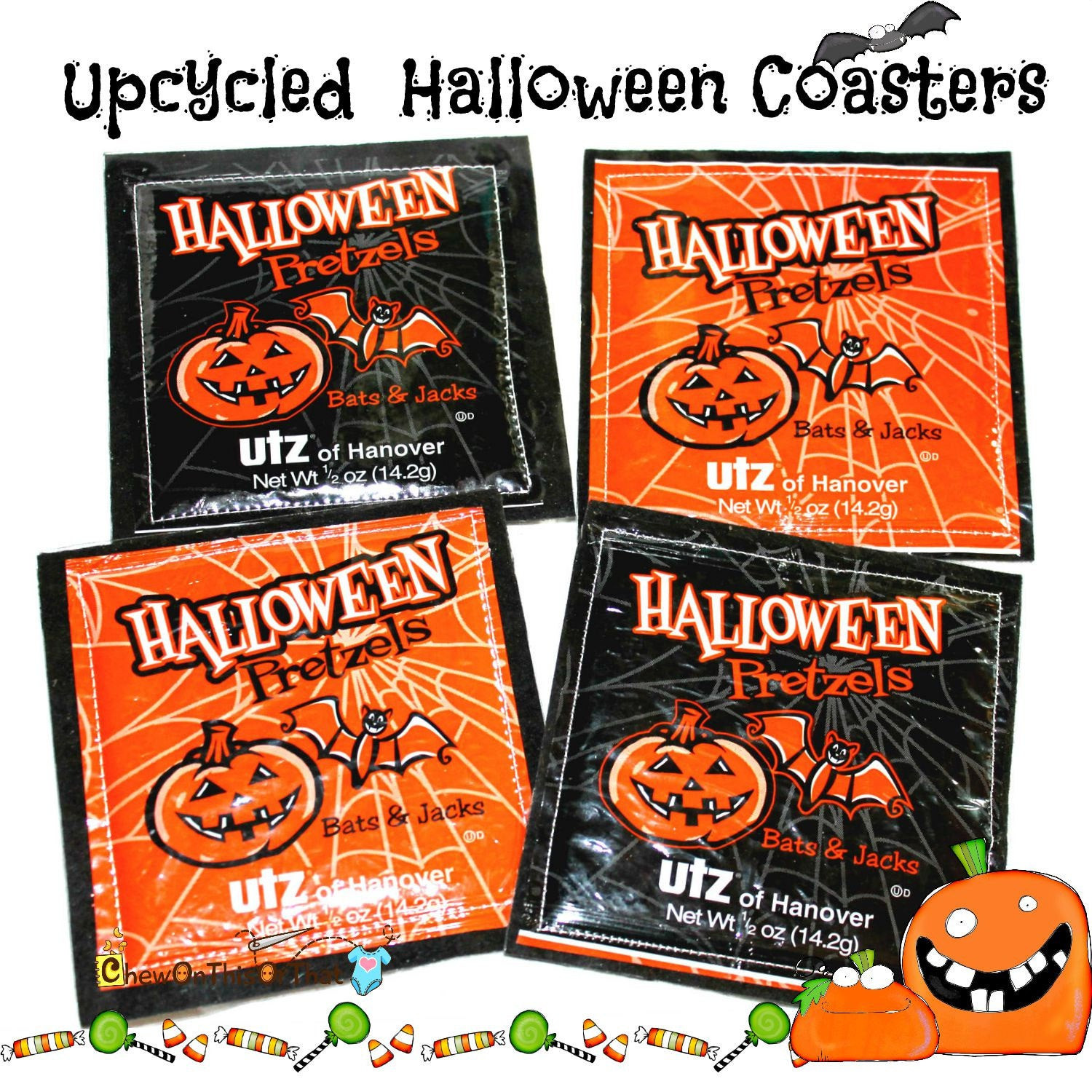 Utz Halloween Pretzels  Upcycled Halloween Utz Pumpkin and Bats Pretzel Coasters Set