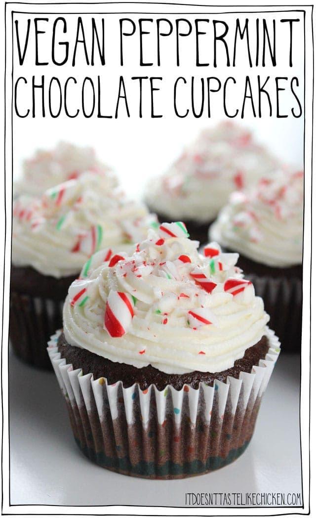 Vegan Christmas Candy  Vegan Peppermint Chocolate Cupcakes • It Doesn t Taste