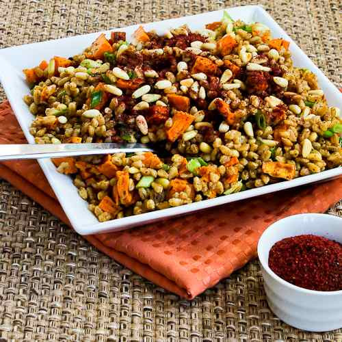 Vegan Sweet Potato Recipes Thanksgiving  Kalyn s Kitchen Recipe for Vegan Farro and Roasted Sweet