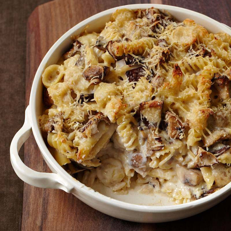 Vegan Thanksgiving Casserole  Cheesy Mixed Pasta Casserole with Mushrooms Recipe