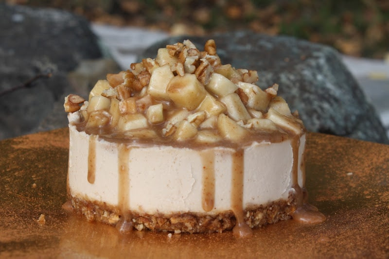 Vegan Thanksgiving Dessert  Raw Caramel Apple Cheesecake Sweetly RawSweetly Raw