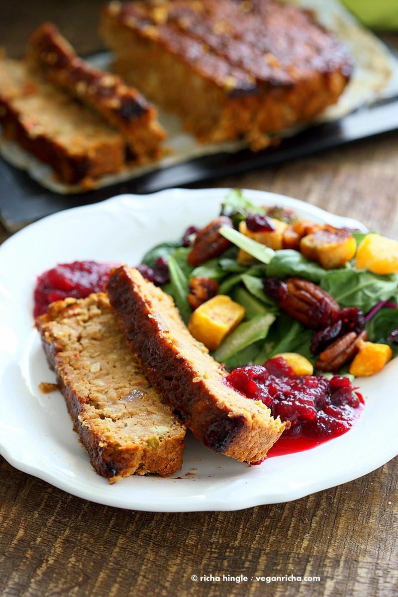 Vegan Thanksgiving Loaf  Chickpea Veggie Loaf Vegan Richa