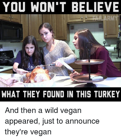 Vegan Thanksgiving Memes  Funny Turkey Memes of 2017 on SIZZLE