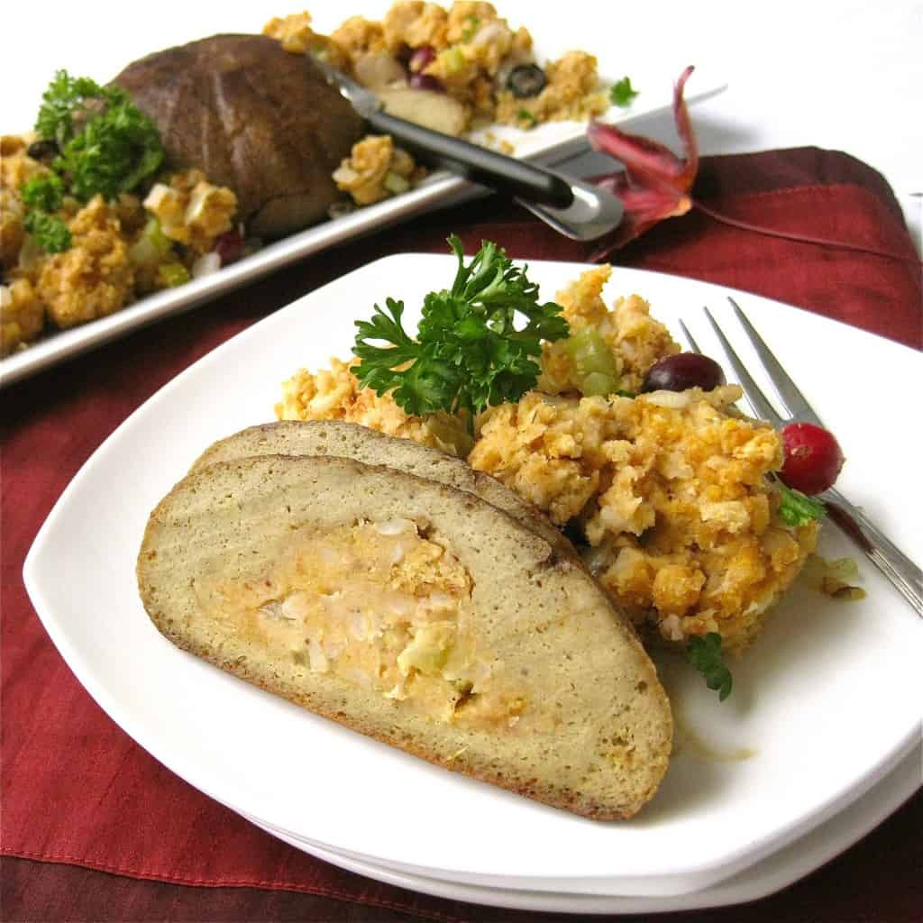 "Vegan Thanksgiving Roast  Vegan ""Turkey"" Roast with Stuffing Vegan Yumminess"