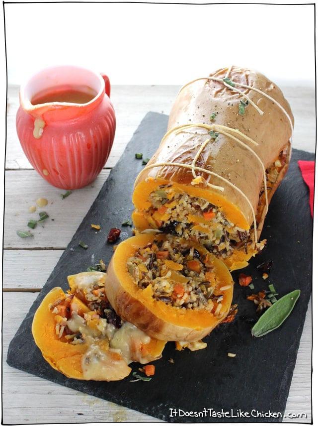 Vegetarian Main Dish For Thanksgiving  Stuffed Roasted Butternut Squash • it doesn t taste like