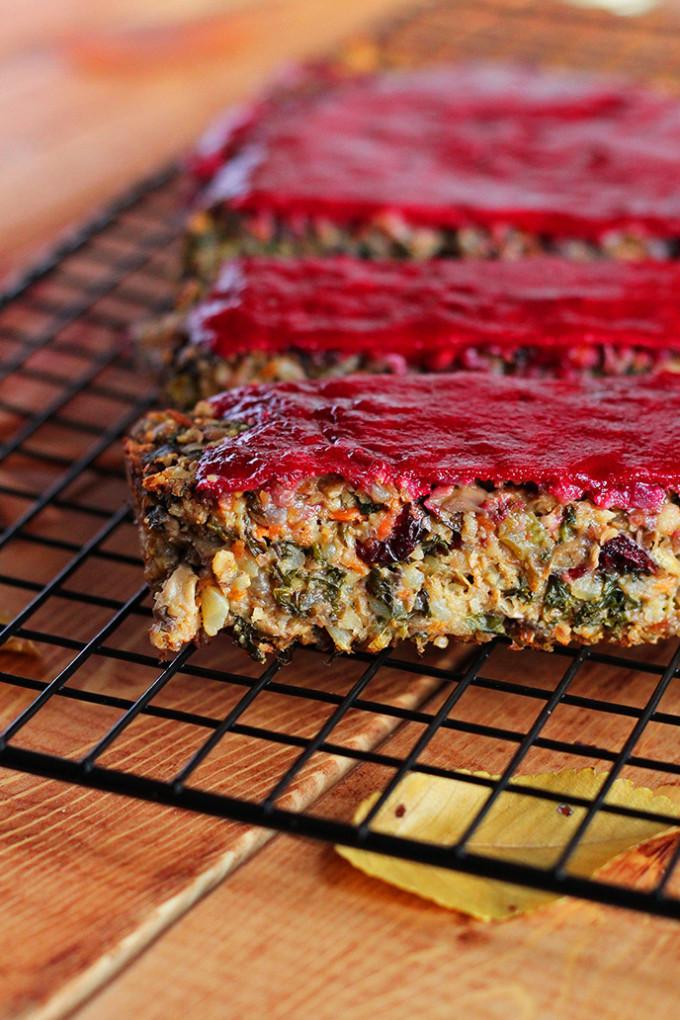 Vegetarian Thanksgiving Loaf  The Ultimate Vegan Thanksgiving Loaf with Cranberry Glaze