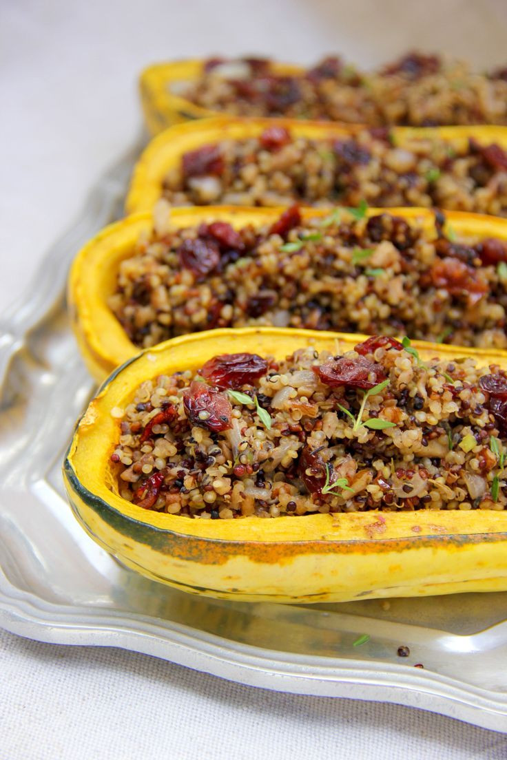 Vegetarian Thanksgiving Main Dish  Quinoa and Cranberry Stuffed Delicata Squash