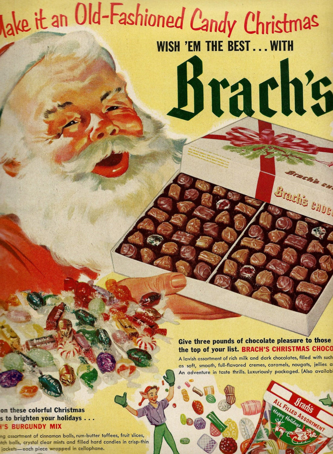 Vintage Christmas Candy  Vintage Brach s Candy Ad for Christmas 1950 s Santa