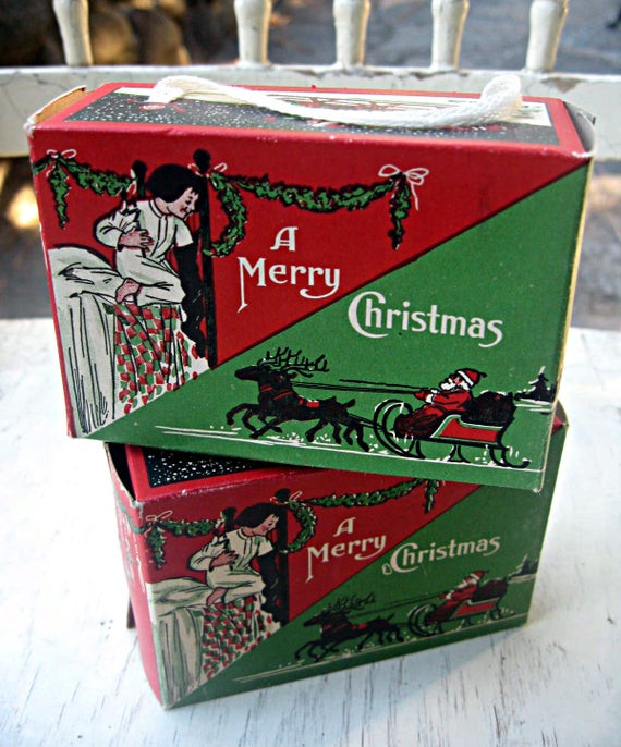 Vintage Christmas Candy  Set of two vintage Christmas candy boxes by LittleBeachDesigns