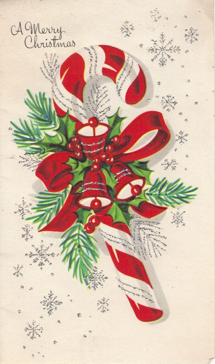 Vintage Christmas Candy  vintage candy cane greeting card