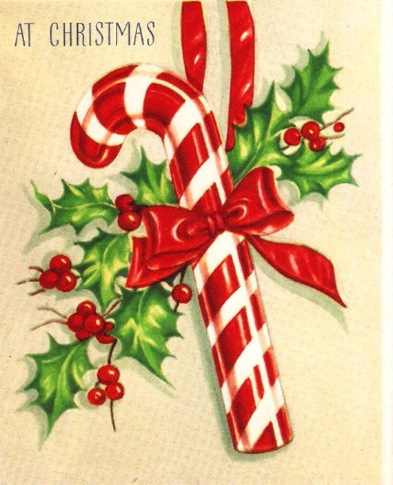 Vintage Christmas Candy  Vintage Christmas Card Candy Cane by PaperPrizes on Etsy