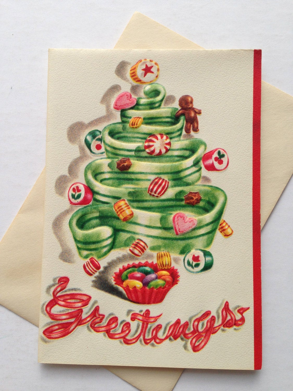 Vintage Christmas Candy  Vintage Christmas Greeting Card Candy Christmas Candy