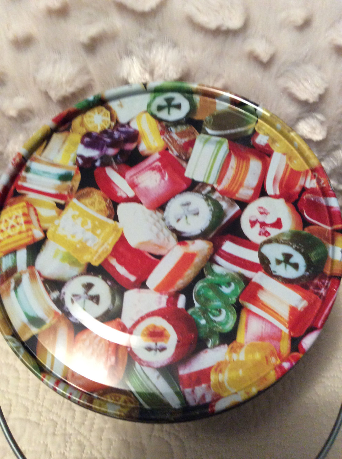 Vintage Christmas Candy  Vintage Hard Candy Christmas Tin Container by