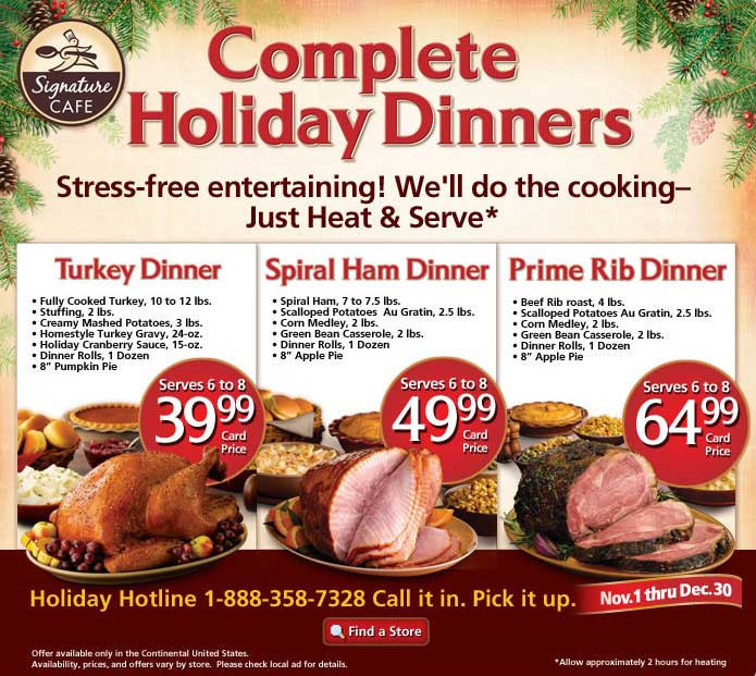 Walmart Pre Cooked Thanksgiving Dinners  safeway christmas turkey dinner 2011