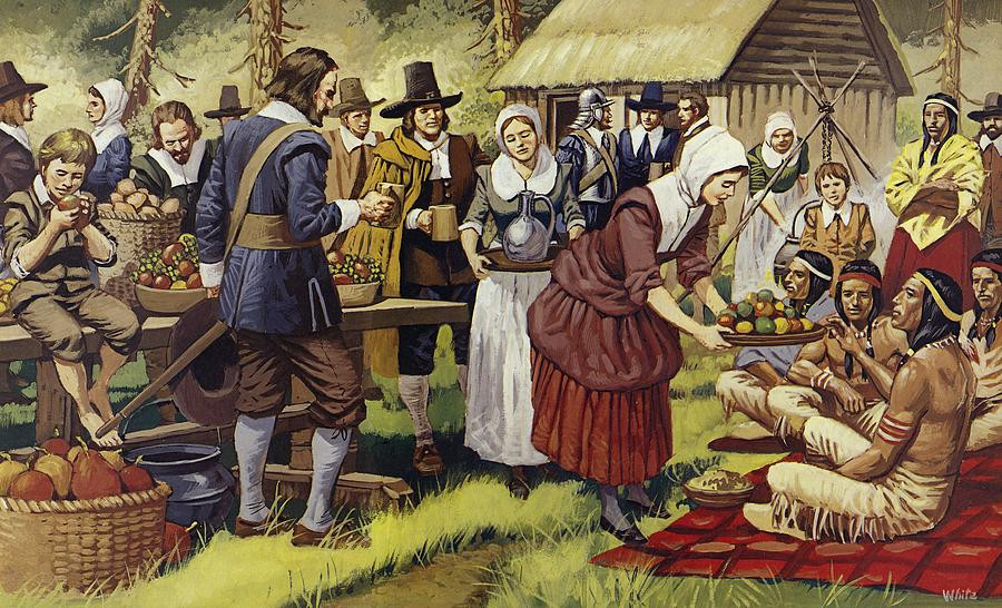 Was There Turkey At The First Thanksgiving  The First Thanksgiving Painting by Mike White