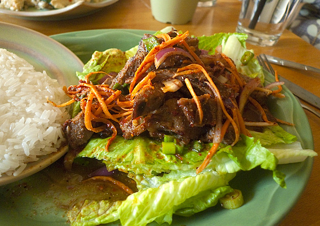Waterfall Beef Salad  Frugal Find Isaan Station in Koreatown Los Angeles Magazine