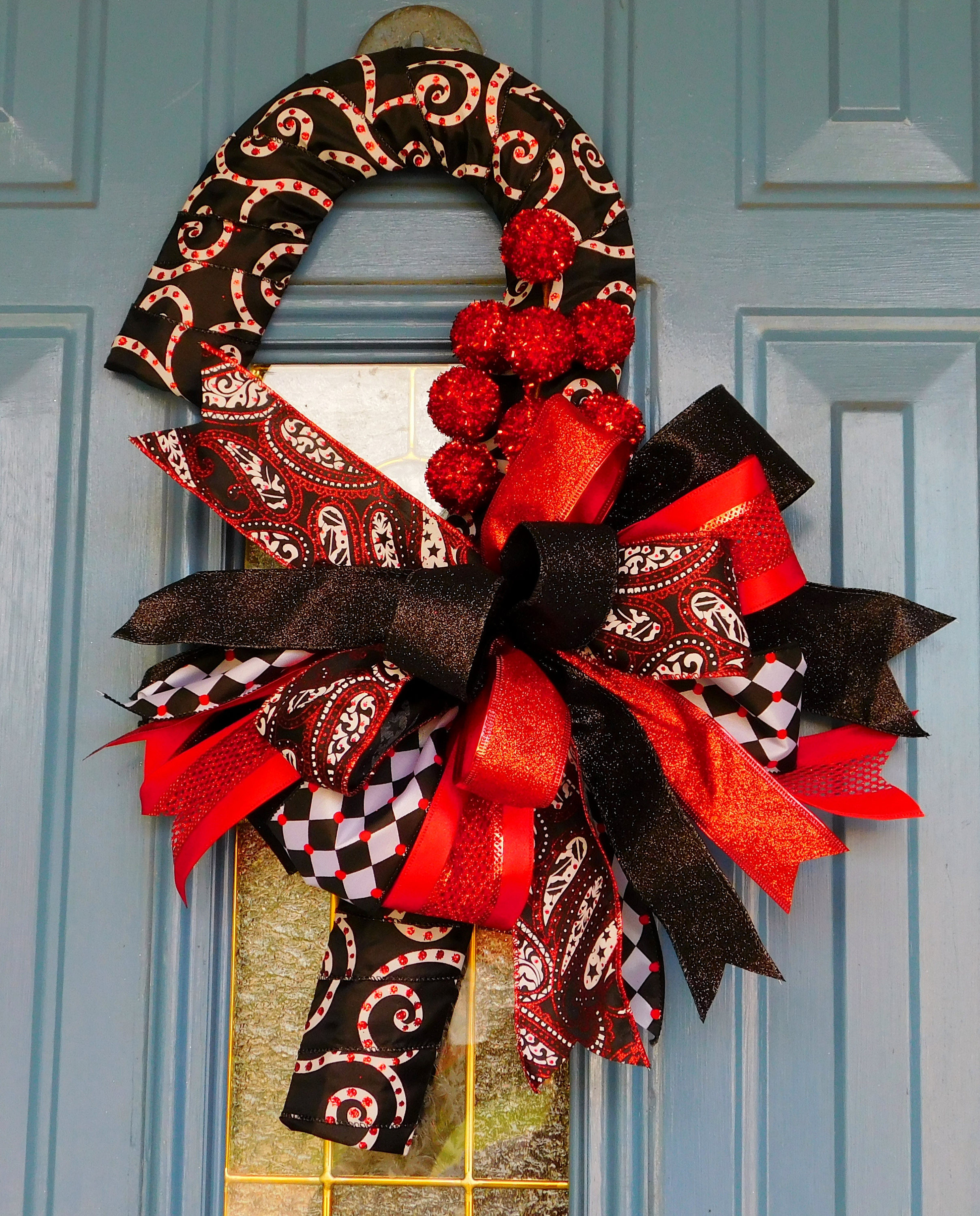 White Christmas Candy  Black Red and White Christmas Candy Cane Door Hanger