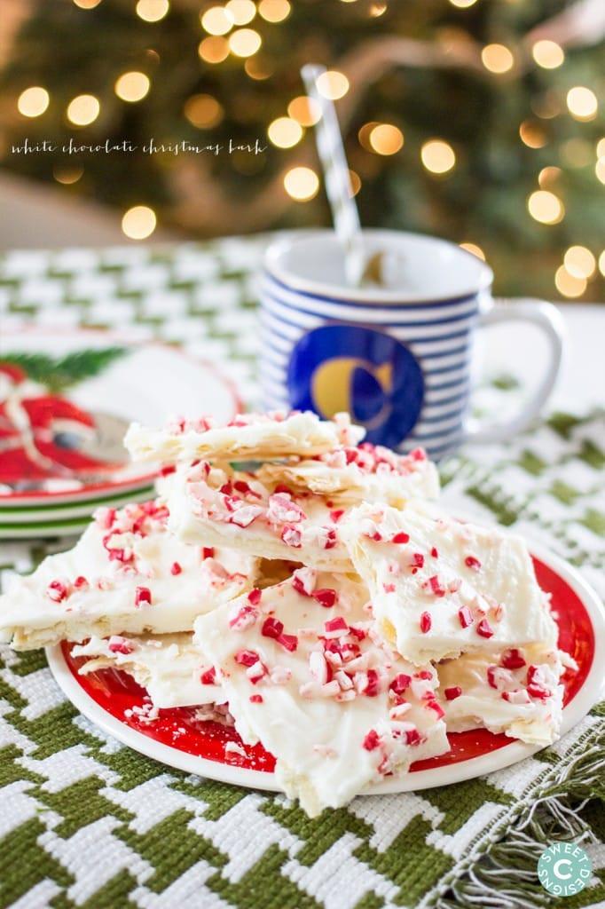 White Christmas Candy  White Chocolate Christmas Peppermint Bark