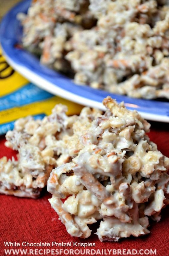 White Christmas Candy  QUICK AND EASY WHITE CHOCOLATE PRETZEL KRISPIES
