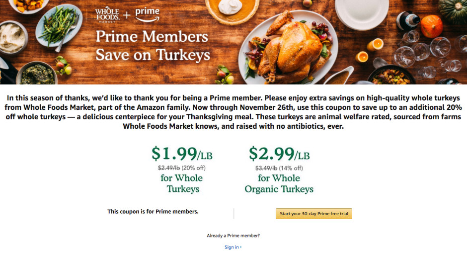 Whole Foods Thanksgiving Turkey  Amazon s Whole Foods turkey promotion is ruining the