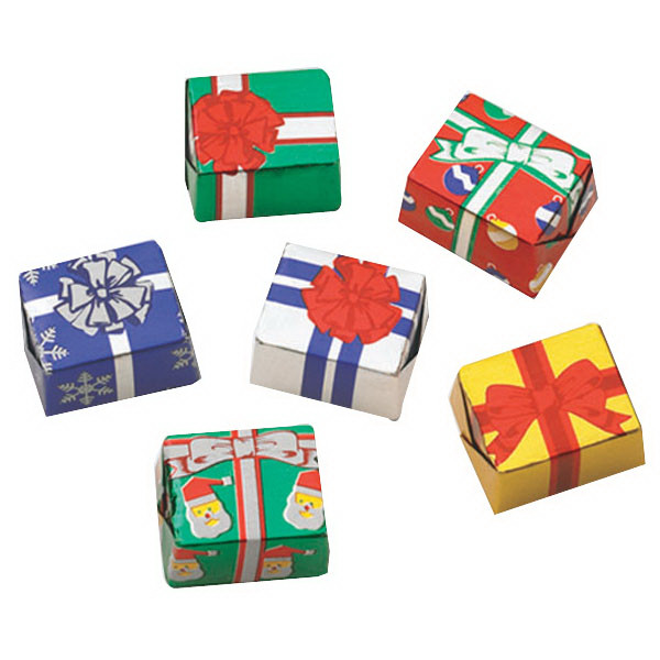 Wrapped Christmas Candy  Milk Chocolate Foil Wrapped Christmas Present GOimprints