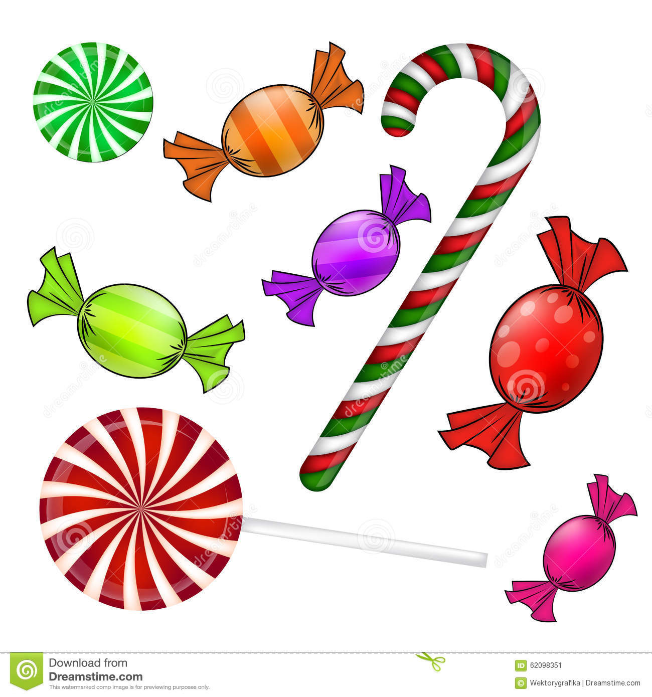 Wrapped Christmas Candy  Christmas Candy Set Colorful Wrapped Sweet Lollipop